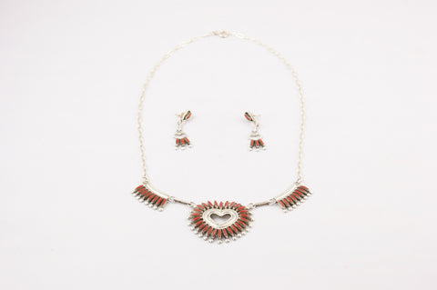 Zuni Red Coral Needlepoint Heart Necklace & Earring Set by Dan Etsate - Turquoise Village