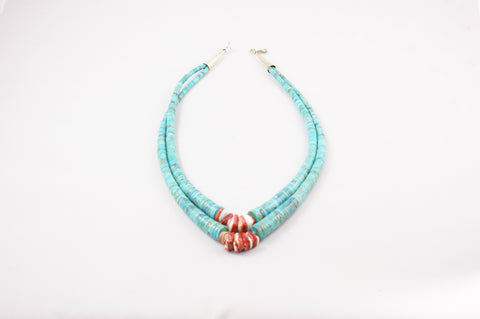 Turquoise & Orange Spiney Shell Heishi Choker by Sheldon Crispin - Turquoise Village