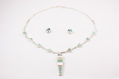 Zuni Micro Inlay Sunface Necklace & Earring Set by Harold Smith - Turquoise Village