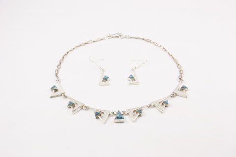 Navajo Silver & Turquoise Necklace & Earring Set by Nusie Henry - Turquoise Village