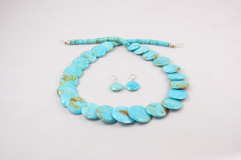 Zuni Turquoise Disk Necklace & Earring Set by Joann Garcia - Turquoise Village