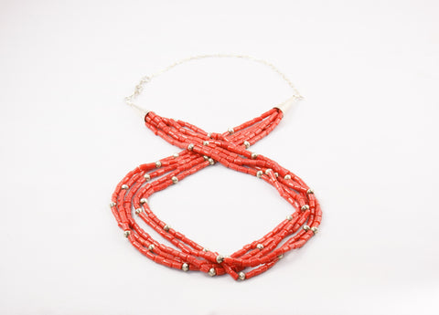 Zuni Red Coral Five Strand Necklace - Turquoise Village