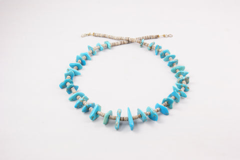 Vintage Santo Domingo Turquoise Nugget Heishi Necklace - Turquoise Village