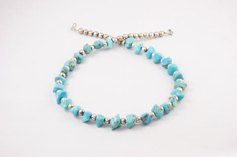 Santo Domingo Turquoise Nugget & Silver Bead Vintage Necklace - Turquoise Village