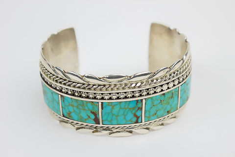 Zuni Channel Inlay Turquoise Cuff Bracelet by Griffin & Vangie Tsabesaye - Turquoise Village - 1