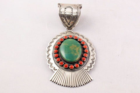 Navajo Green Turquoise Nugget and Red Coral Snake Eye Pendant by Rick Martinez - Turquoise Village - 1