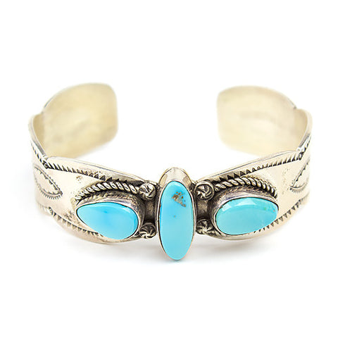 Sterling Silver Navajo Cuff Bracelet with Sleeping Beauty Turquoise - Turquoise Village - 1