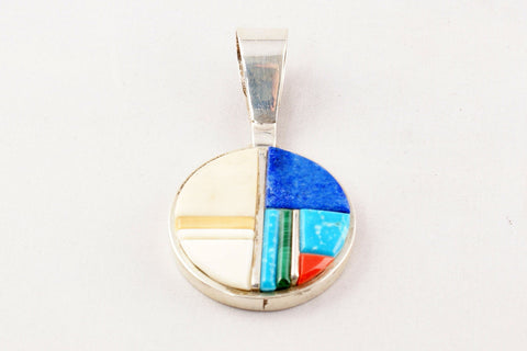 Navajo Inlay Multistone Pendant by Harold Smith - Turquoise Village - 1