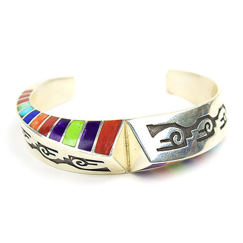 Navajo Multistone Channel Inlay Bracelet with Overlay Design by Lon & Lonnie Parker - Turquoise Village - 1