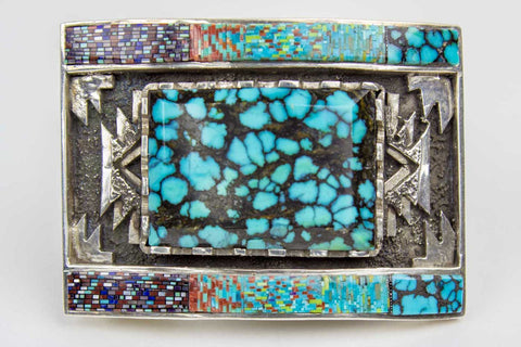 Navajo Micro Inlay Buckle by Carl Clark - Turquoise Village - 1