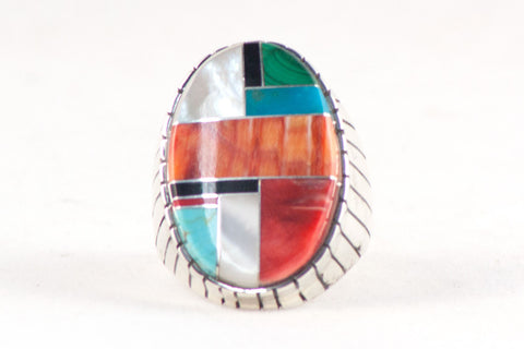 Navajo Multistone Inlay Ring by Ray Jack - Turquoise Village - 1