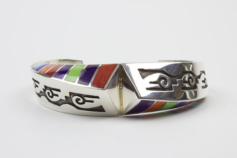 Navajo Multistone Inlay Sterling Silver Bracelet by Lonnie Parker - Turquoise Village - 1