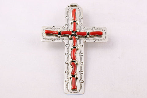 Navajo Red Coral and Sterling Silver Cross Pendant - Turquoise Village - 1