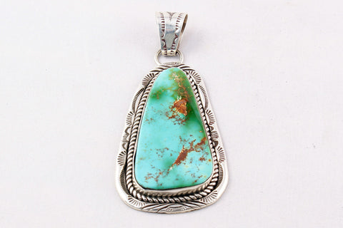 Navajo Royston Turquoise Nugget Pendant by Joe Tso - Turquoise Village - 1