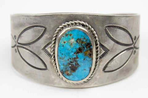 Navajo Stamped Turquoise Cuff Bracelet by Leonard Chee - Turquoise Village - 1