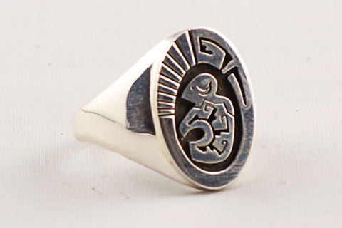 Navajo Sterling Silver Buffalo Design Ring by Calvin Peterson - Turquoise Village