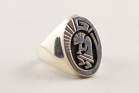Navajo Sterling Silver Kokopelli Ring by Calvin Peterson - Turquoise Village