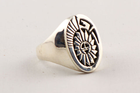 Navajo Sterling Silver Sunface Ring by Calvin Peterson - Turquoise Village