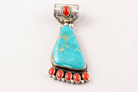 Navajo Turquoise and Red Coral Pendant by Rick Martinez - Turquoise Village - 1