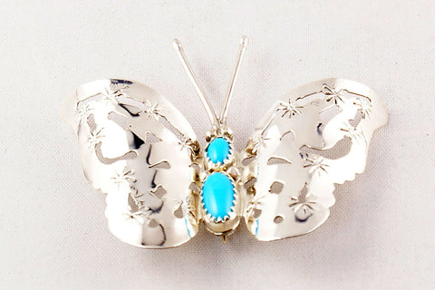 Navajo Turquoise and Sterling Silver Butterfly Pin by Louis Yazzie - Turquoise Village - 1