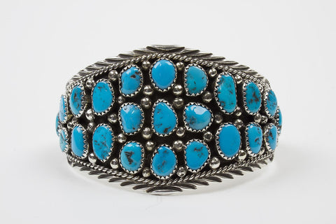 Navajo Turquoise Cabochon Bracelet by Marlene Begay - Turquoise Village - 1