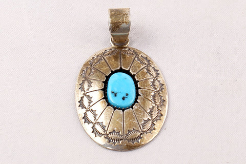 Navajo Turquoise Nugget Concho Style Pendant by Thomas Nez - Turquoise Village - 1