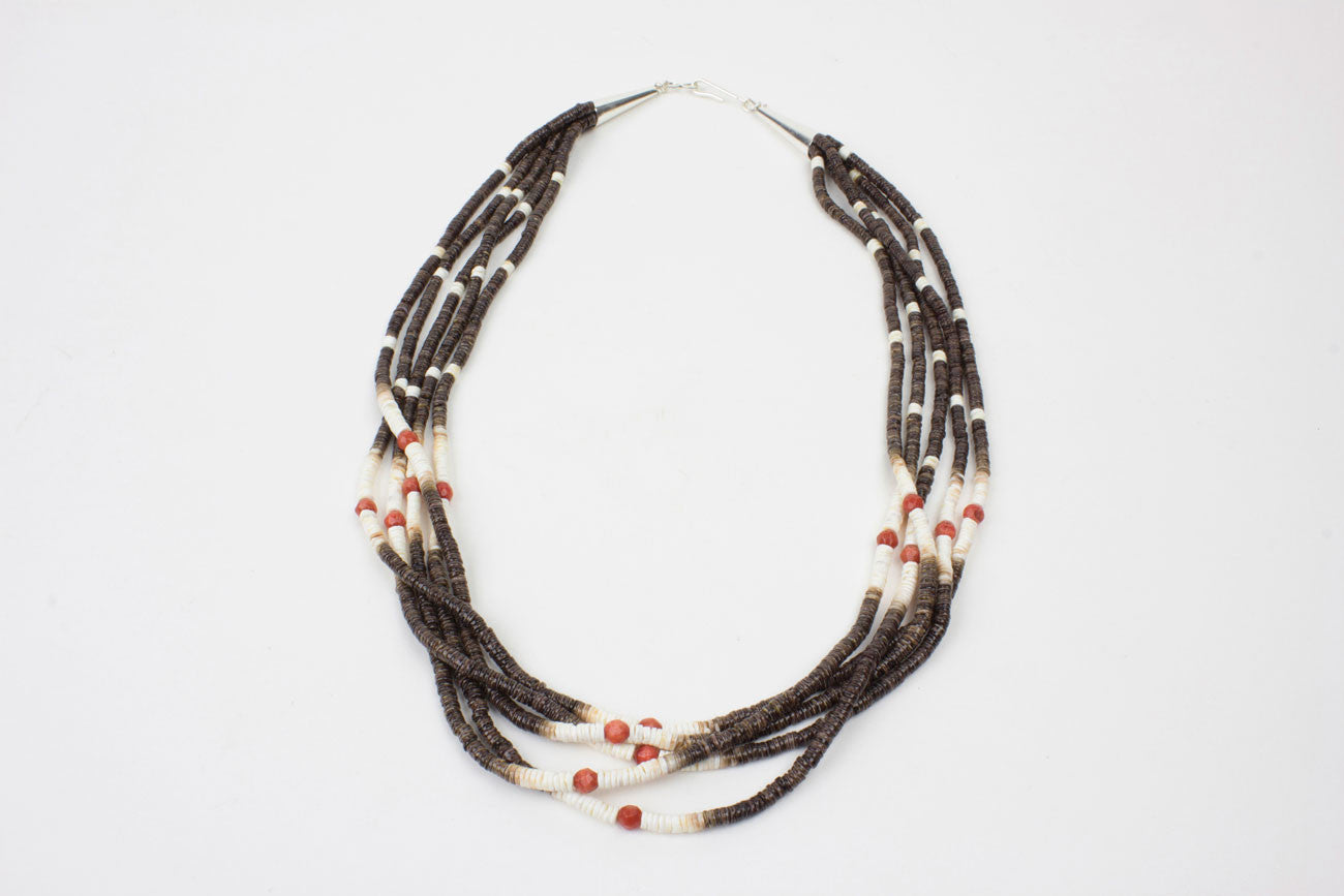 brown nickel necklace north copy black of untouched dark previous products jewellery works heishi beads hook