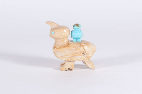Picture Jasper and Turquoise Zuni Quail and Baby Fetish by Verla Jim - Turquoise Village - 1