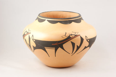 Zuni Deer Design Pot by Anderson Peynetsa - Turquoise Village - 1