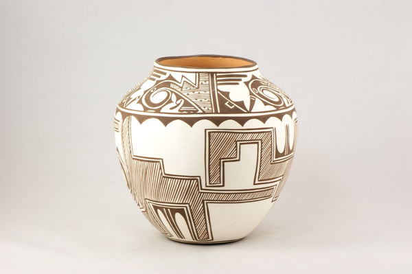 Handcrafted Classic Zuni Southwestern Design Pot By Noreen