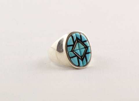 Zuni Inlay Turquoise Ring by Yelmo Natachu - Turquoise Village