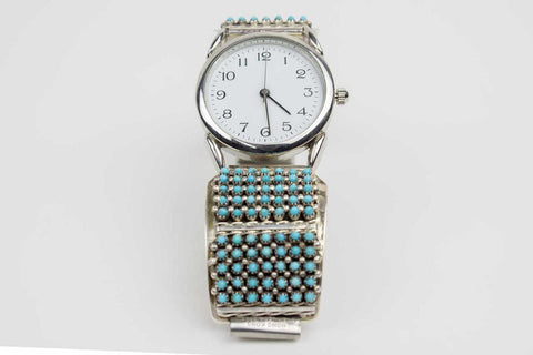 Sleeping Beauty Turquoise Zuni Snake Eye Watch by Steven Haloo - Turquoise Village - 1