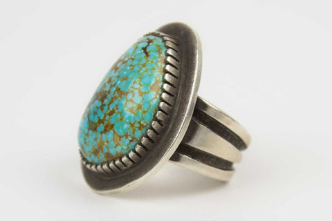 Navajo Turquoise Nugget Ring by Tommy Jackson - Turquoise Village - 1