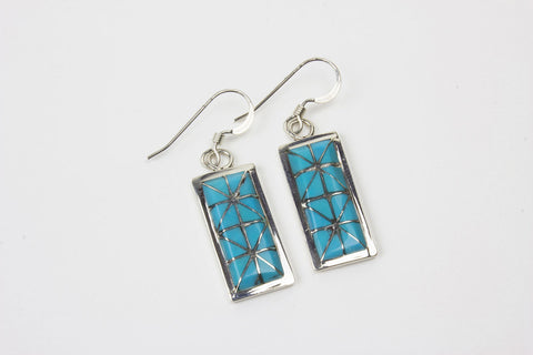 Sterling Silver and Turquoise Channel Inlay Dangle Earrings by Gloria Tucson - Turquoise Village - 1