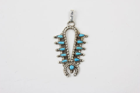 Sterling Silver and Turquoise Mini Squash Blossom Pendant by Dave Pincion - Turquoise Village - 1