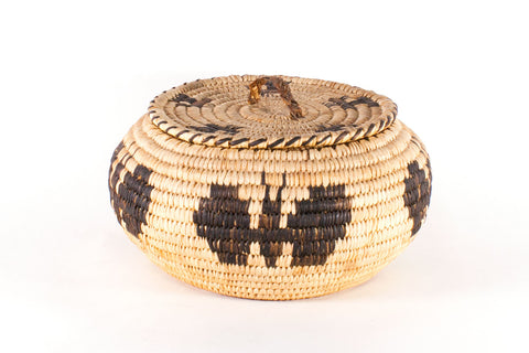 Tohono O'odham Basket With Lid Featuring Butterfly Design by Laura Thomas - Turquoise Village - 1