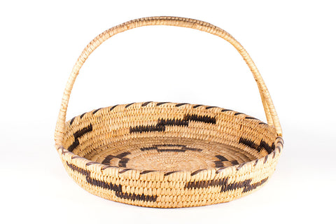 Tohono O'odham Coiled Basket With Handle Featuring Lightening & Coyote Track Designs - Turquoise Village