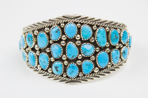 Turquoise Nugget and Sterling Silver Navajo Bracelet by Vivian Jones - Turquoise Village - 1