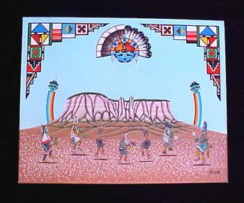 Zuni Native American Corn Mountain & Kachina Painting - Turquoise Village
