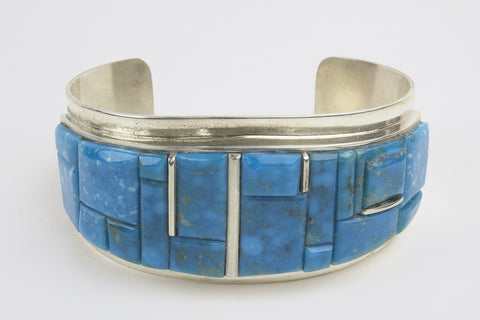 Navajo Cobbled Inlay Turquoise Cuff Bracelet by Harold Smith - Turquoise Village - 1