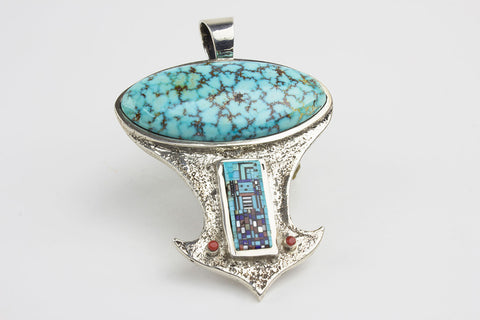 Navajo Micro Inlay Turquoise Pendant by Carl & Irene Clark - Turquoise Village - 1