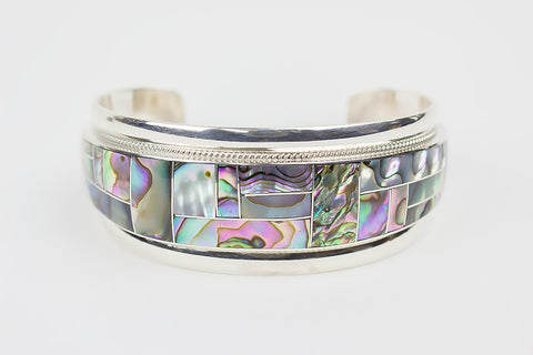 Zuni Channel Inlay Abalone Bracelet by Rickel & Glendora Booqua - Turquoise Village - 1