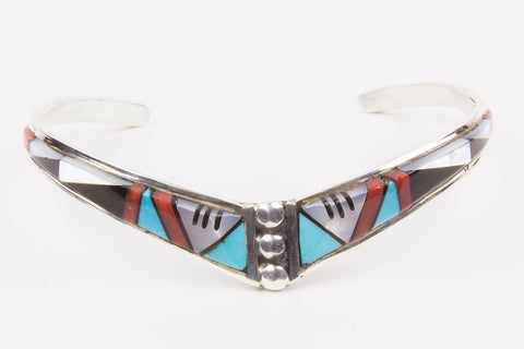 Zuni Channel Inlay Bracelet by Phylis Lucio - Turquoise Village - 1