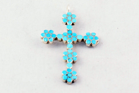 Zuni Channel Inlay Flowering Turquoise Cross Pendant by Rupert Shetim - Turquoise Village - 1