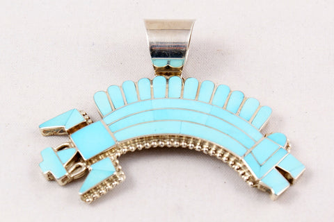Zuni Channel Inlay Rainbow God Pendant by Fadrian & Vivian Bowannie - Turquoise Village - 1