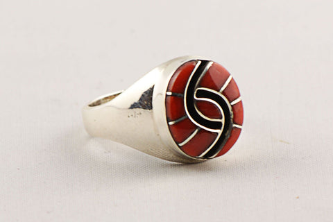 Zuni Channel Inlay Red Coral Ring by Amy Wesley - Turquoise Village