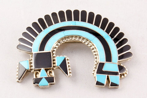 Zuni Channel Inlay Turquoise and Jet Rainbow God Pin and Pendant by Fadrian Bowannie - Turquoise Village - 1