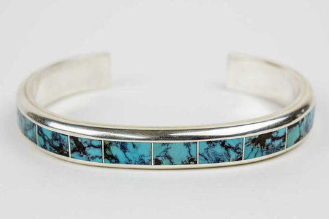 Zuni Channel Inlay Turquoise Bracelet by Johnny Coonis - Turquoise Village - 1