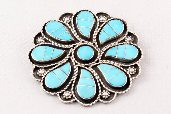 Zuni Channel Inlay Turquoise Flower Pin And Pendant By