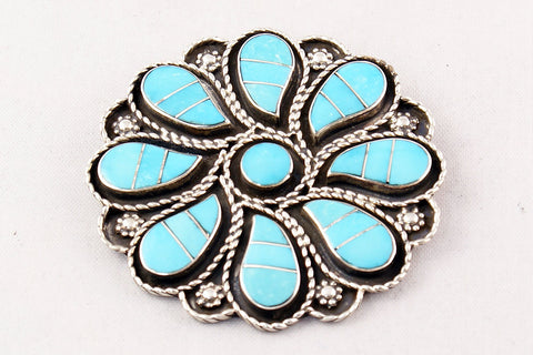 Zuni Channel Inlay Turquoise Flower Pin and Pendant by Dion Lowsayatee - Turquoise Village - 1